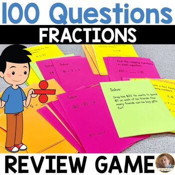 100 Questions: Fraction Review Game for 3rd Grade