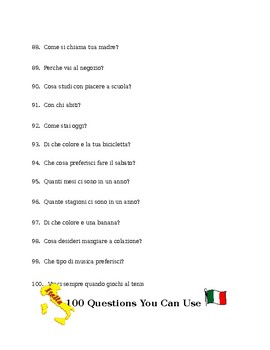 100 Questions to Spark Conversation in Italian