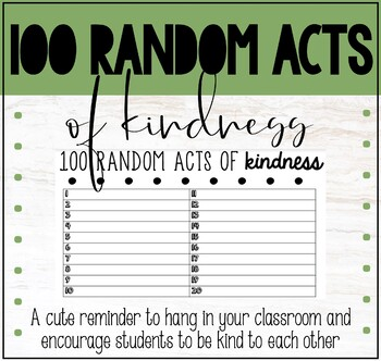 100 Random Acts of Kindness list