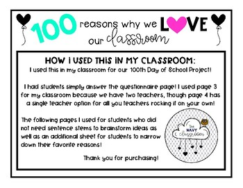 100 Reasons Why I Love My Classroom Project