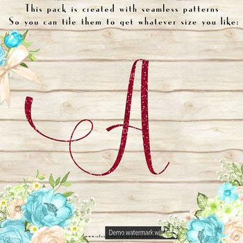 100 red glitter alphabet number symbol letter clip arts not a font