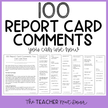 100 Report Card Comments You Can Use Now Freebie By The Teacher