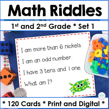 First and Second Grade Math Riddle Task Cards for the 120 Chart Set 1