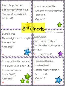Spiral Review Math Riddle Task Cards Grades Bundle