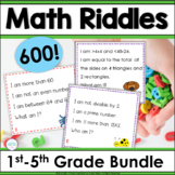 Spiral Review Math Riddle Task Cards Grades 1-5 Bundle