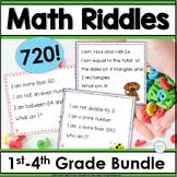 Math Activities Grades 1-5 Spiral Review Riddles Bundle