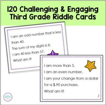 Third Grade Math ~120 Math Riddle Cards