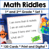 First Grade and Second Grade Spiral Math Review Task Cards Set 1