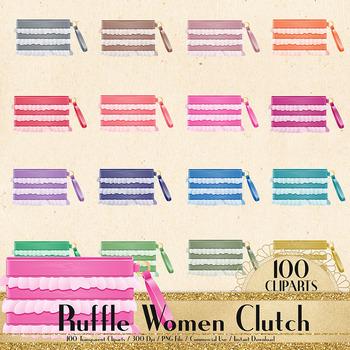 100 Ruffle Women Hand Clutch Clip Arts, Fashion Clip Arts