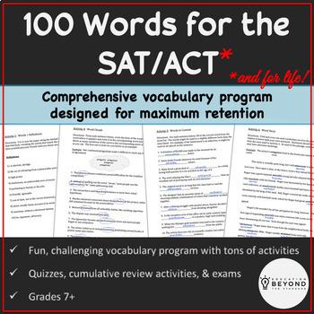 100 SAT Vocabulary Words, Activities, Quizzes, & More!