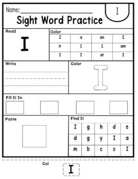 100 SIGHT WORDS Worksheets. Kindergarten, Primer Words. Editable.