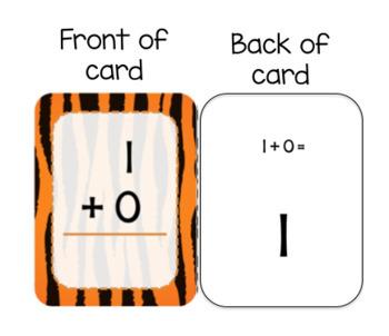 100 Safari Animal Print Single-Digit Addition Flashcards (0-9)
