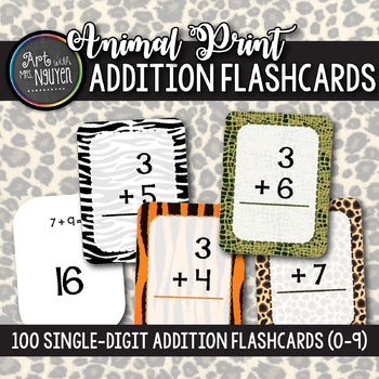 100 Safari Animal Print Single-Digit Addition Flashcards (0-9)