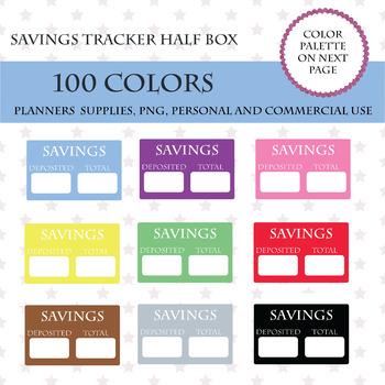 100 Savings Half Box Clipart, Savings icon, Savings Tracker, Savings Stickers