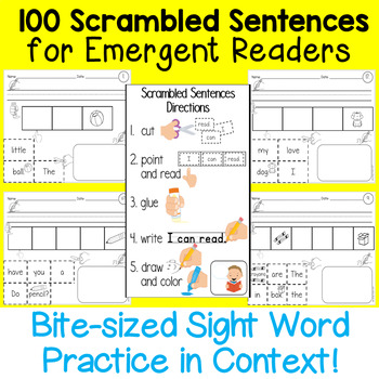 100 Scrambled Sentences for Emergent Readers