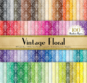 100 Seamless Antique Damask Digital Papers