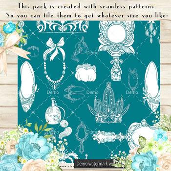 100 Seamless Antique Princess Digital Papers, Vintage Royal