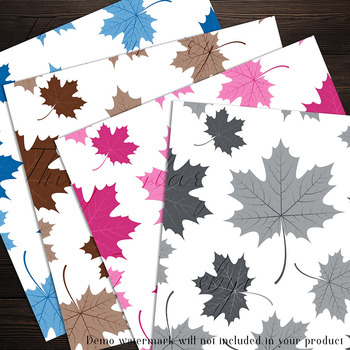 100 Seamless Color Autumn Leaves Pattern Digital Papers