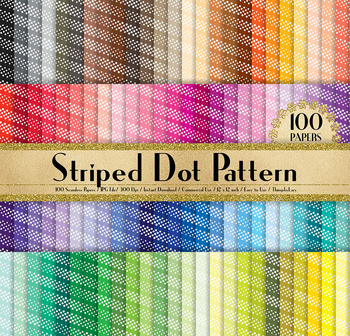 100 Seamless Diagonal Dot Striped Digital Papers