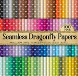 100 Seamless Dragonfly Childhood Field Farm Digital Papers