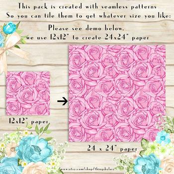 100 Seamless Drawn Rose Flower Digital Papers
