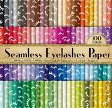 100 Seamless Eyelash Digital Papers Fashion Beauty Pattern
