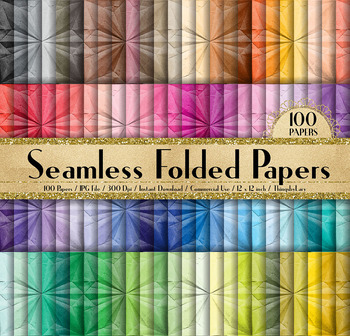 100 Seamless Folded Digital Papers, Origami Digital Papers