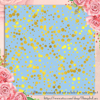 100 Seamless Gold Foil Confetti Digital Papers, Gold Party