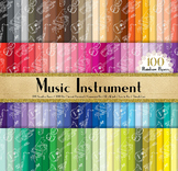 100 Seamless Hand Drawn Music Instrument Digital Papers