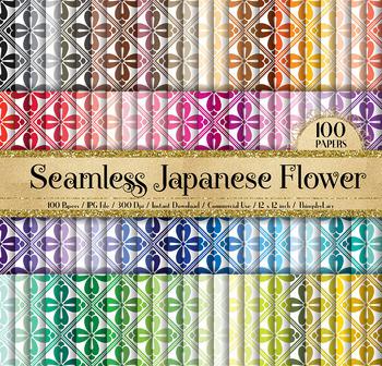 100 Seamless Japanese Flower Digital Papers