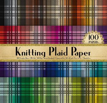 100 Seamless Knitting Plaid Digital Papers