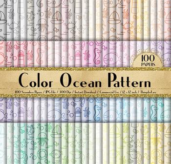 100 Seamless Ocean Pattern Digital Papers, Baby Shower Paper