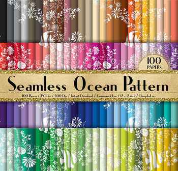 100 Seamless Ocean Pattern Digital Papers Ocean Sea Papers