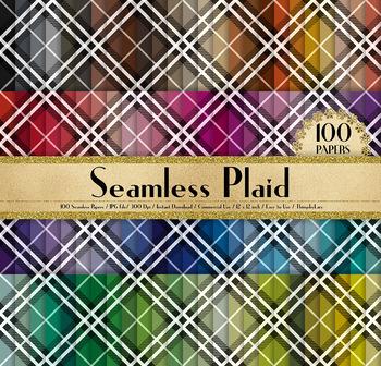 100 Seamless Plaid Pattern Digital Papers