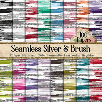100 Seamless Silver Glitter and Brush Stroke Digital Papers