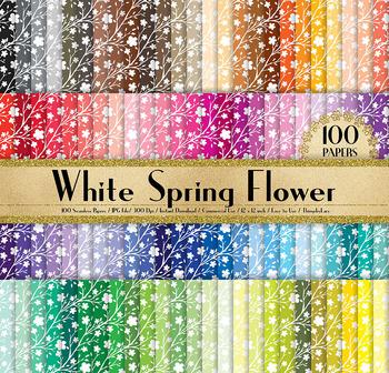100 Seamless Spring Flower Digital Papers Cherry Blossom