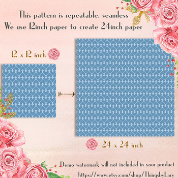 100 Seamless Striped Heart Digital Papers