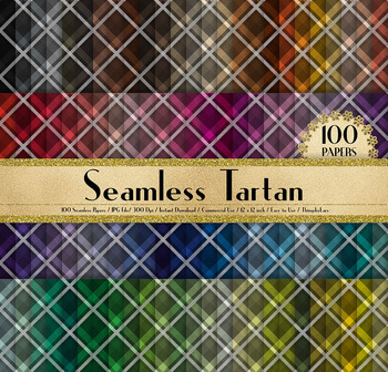 100 Seamless Tartan Digital Papers Cloth Texture Papers
