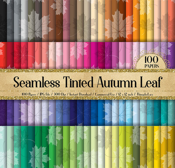100 Seamless Tinted Autumn Leaves Pattern Digital Papers
