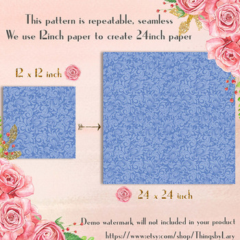 100 Seamless Tinted Damask Digital Papers