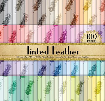 100 Seamless Tinted Feather Digital Papers