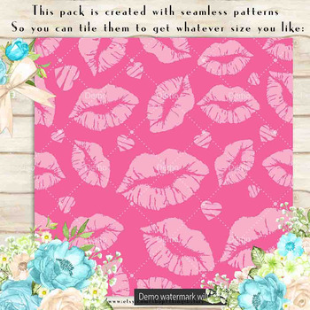 100 Seamless Tinted Lipstick Kiss Love Valentine Papers