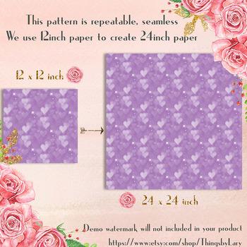 100 Seamless Valentine Heart Bokeh Texture Digital Papers