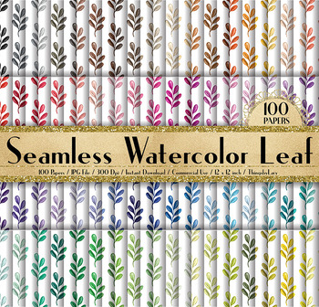 100 Seamless Watercolor Fall Leaf Digital Papers