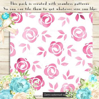 100 Seamless Watercolor Hand Drawn Rose Flower Digital Papers
