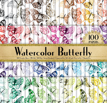 100 Seamless Watercolor Romantic Butterfly Digital Papers