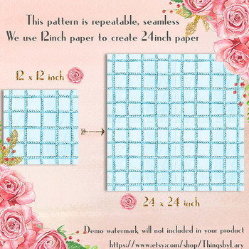 100 Seamless Watercolor Rope Net Digital Papers