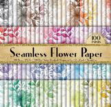 100 Seamless Watercolor Rustic Flower Digital Papers