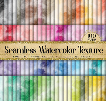 100 Seamless Watercolor Texture Digital Papers