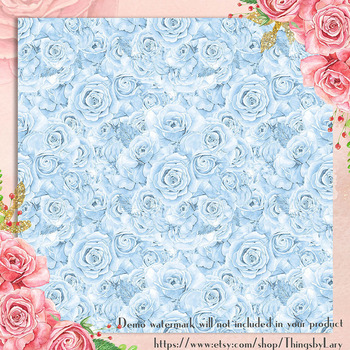 100 Seamless Watercolor Wedding Rose Boutique Digital Papers